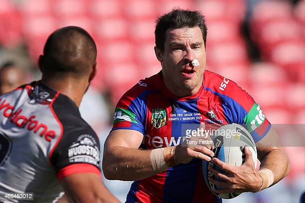 James McManus of tyhe Knights runs the ball during the round one NRL match between the Newcastle Knights and the New Zealand Warriors at Hunter...