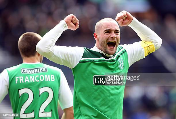 James McPake captain of Hibernian celebrates victory at the final whistle during The William Hill Scottish Cup Semi Final between Aberdeen and...