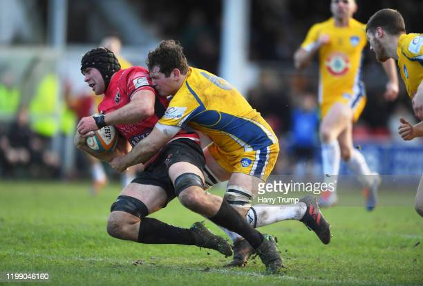 James McRae of Cornish Pirates goes over for a try during the Greene King IPA Championship match between Cornish Pirates and Yorkshire Carnegie at...