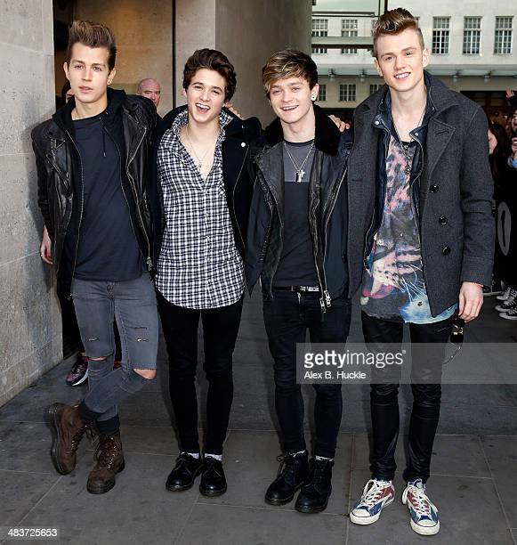 James McVey Brad Simpson Connor Ball and Tristan Evans of 'The Vamps' sighted arriving at the BBC Radio 1 Studios April 10 2014 in London England