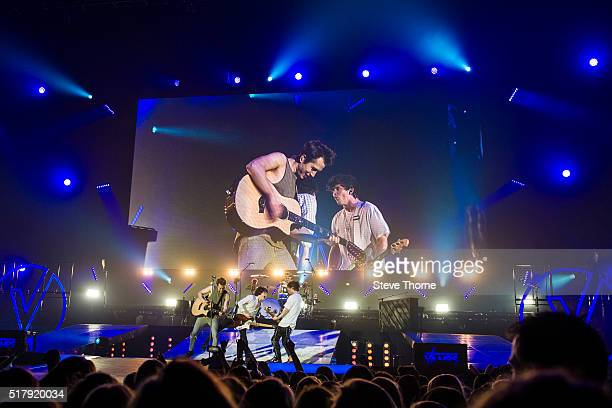 James McVey Bradley Simpson Connor Ball and Tristan Evans of The Vamps perform at Genting Arena on March 25 2016 in Birmingham England