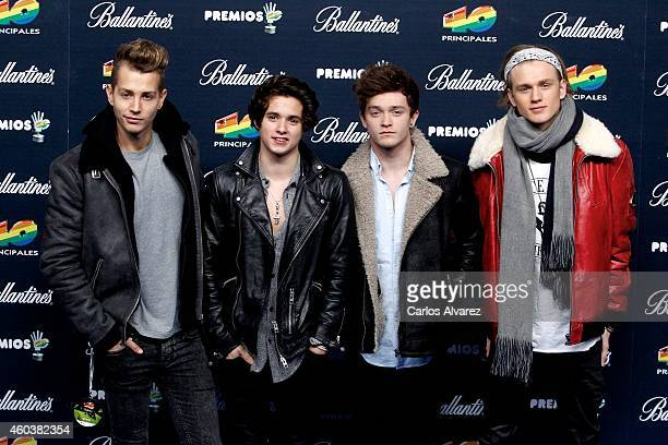 James McVey Bradley Simpson Connor Ball and Tristan Evans of The Vamps attend the 40 Principales Awards 2014 photocall at the Barclaycard Center on...