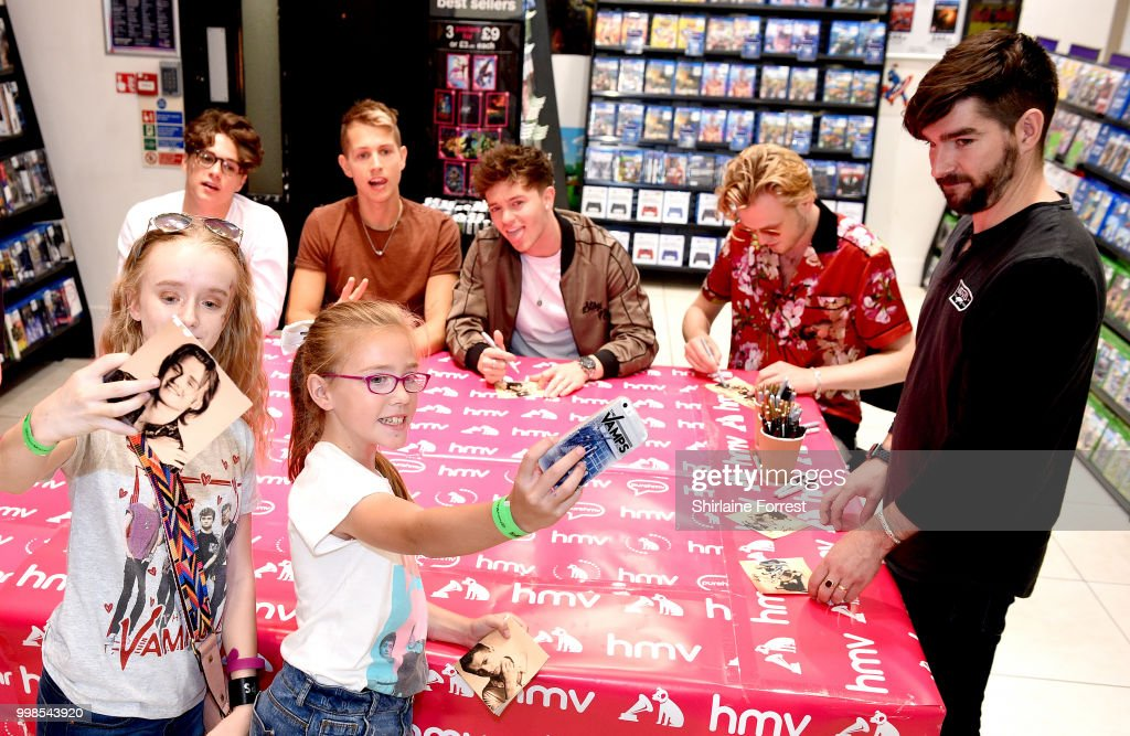 The vamps instore session at hmv manchester photos and images james mcvey bradley simpson tristan evans and connor ball of the vamps meet fans m4hsunfo