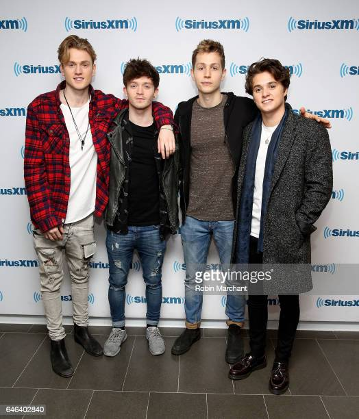 James McVey Connor Ball Tristan Evans and Brad Simpson of The Vamps at SiriusXM Studios on February 28 2017 in New York City