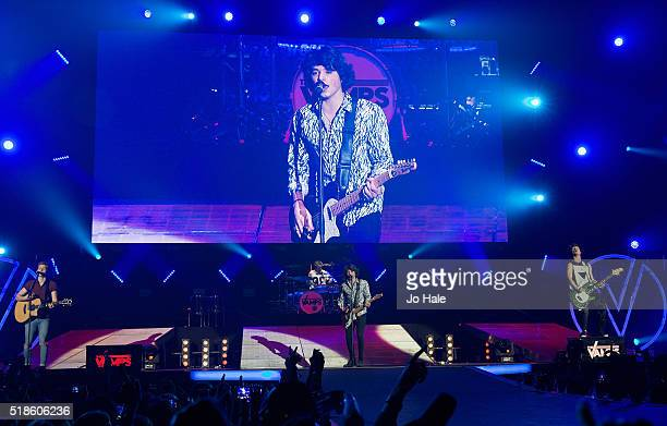 James McVey Connor Ball Tristan Evans and Bradley Simpson of The Vamps perform on stage at The O2 Arena on April 1 2016 in London England