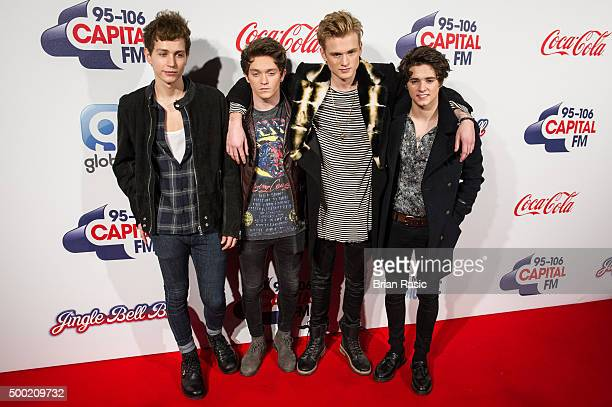 James McVey Connor Ball Tristan Evans and Bradley Simpson of The Vamps attends the Jingle Bell Ball at The O2 Arena on December 6 2015 in London...