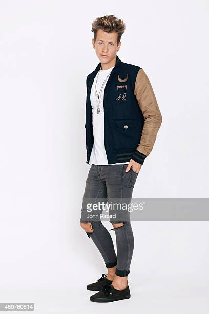 James McVey from the band The Vamps is photographed for Word Up on June 18 2014 in Newark New Jersey