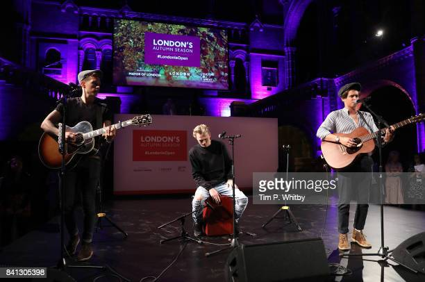 James McVey Tristan Evans and Bradley Simpson of The Vamps perform during the London Autumn Season launch at the Natural History Museum on August 31...