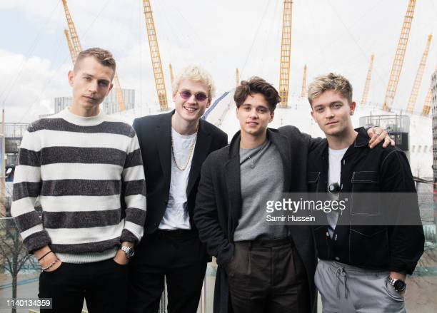 James McVey Tristan Evans Bradley Simpson and Connor Ball of The Vamps pose for a photocall to mark them becoming the first band to play at the O2...