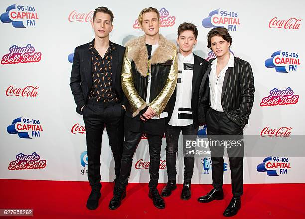 James McVey Tristan Evans Connor Ball and Bradley Simpson from The Vamps attend Capital's Jingle Bell Ball with CocaCola on December 4 2016 in London...