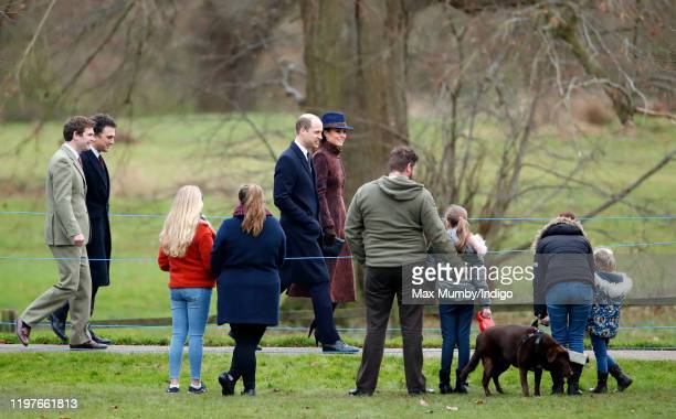 James Mead, Thomas van Straubenzee, Prince William, Duke of Cambridge and Catherine, Duchess of Cambridge attend Sunday service at the Church of St...