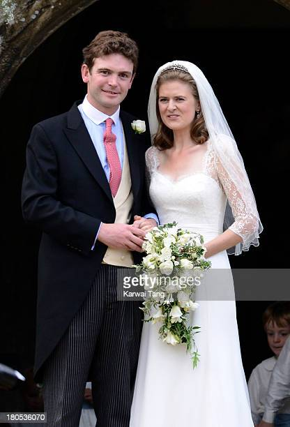 James Meade and Lady Laura Marsham are seen during their wedding at The Parish Church of St Nicholas in Gayton on September 14 2013 in King's Lynn...