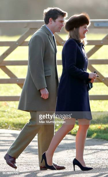 James Meade and Lady Laura Meade attend Sunday service at St Mary Magdalene Church Sandringham on January 7 2018 in King's Lynn England