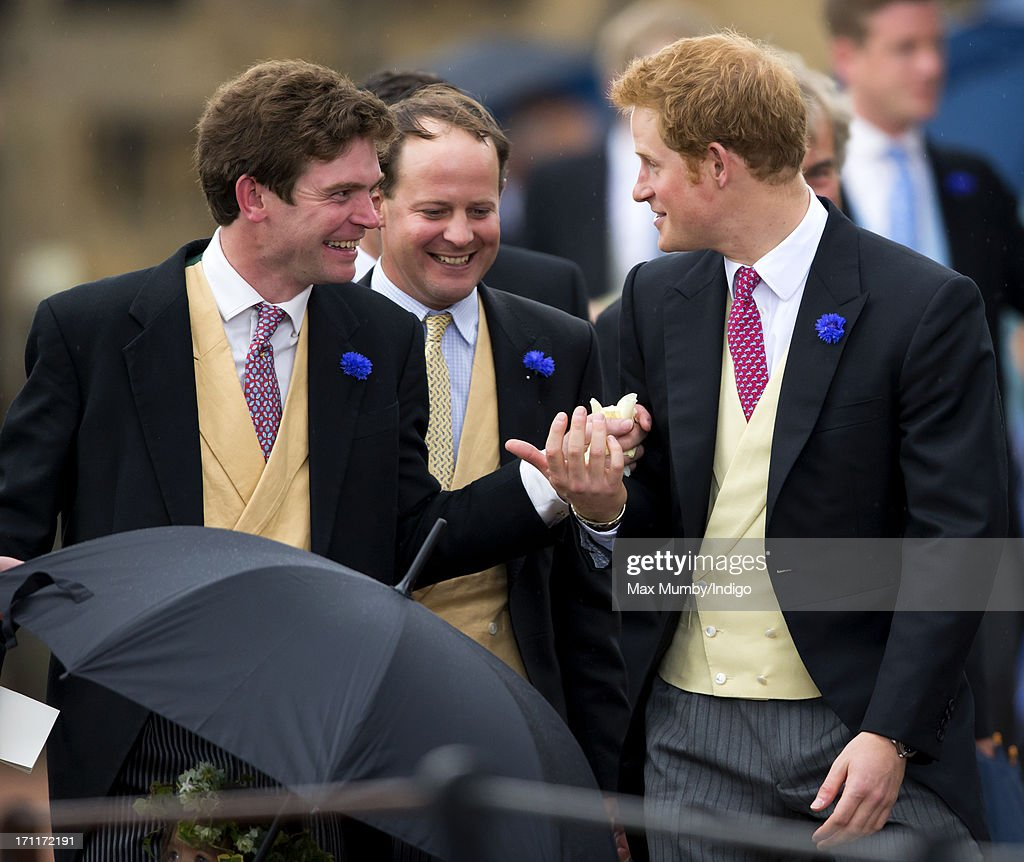 James Meade and Prince Harry attend the wedding of Lady Melissa Percy and Thomas Van Straubenzee at St Michael's Church on June 22, 2013 in Alnwick, England.