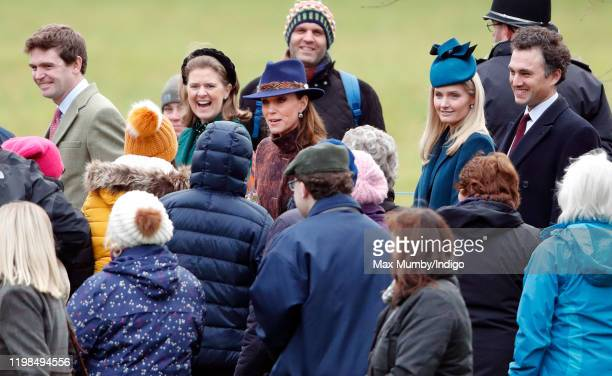 James Meade, Lady Laura Meade, Catherine, Duchess of Cambridge, Lucy Lanigan-O'Keeffe and Thomas van Straubenzee attend Sunday service at the Church...