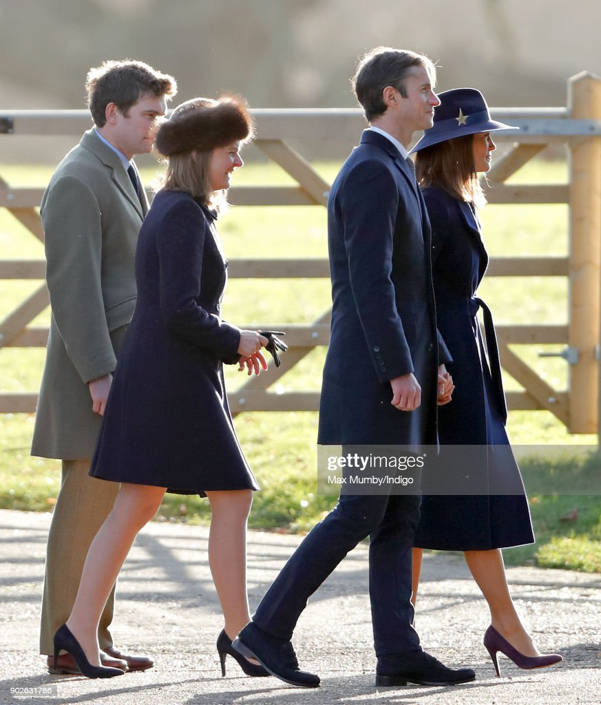 James Meade, Lady Laura Meade, James Matthews and Pippa Middleton attend Sunday service at St Mary Magdalene Church, Sandringham on January 7, 2018 in King's Lynn, England.