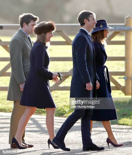 James Meade Lady Laura Meade James Matthews and Pippa Middleton attend Sunday service at St Mary Magdalene Church Sandringham on January 7 2018 in...