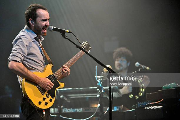 James Mercer and Richard Swift of The Shins perform on stage at HMV Forum on March 22 2012 in London United Kingdom