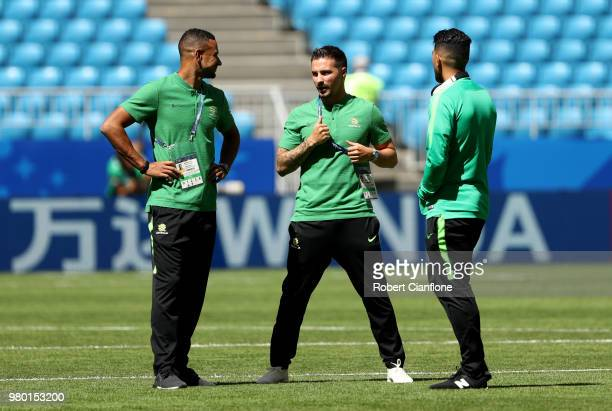 James Meredith Jamie MacLaren and Massimo Luongo of Australia inspect the pitch prior to the 2018 FIFA World Cup Russia group C match between Denmark...
