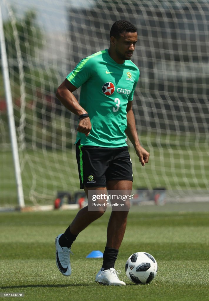 James Meredith of Australia controls the ball during the Australian Socceroos Training Session at the Gloria Football Club on June 4, 2018 in Antalya, Turkey.