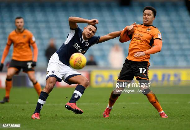 James Meredith of Millwall and Helder Costa of Wolverhampton Wanderers during the Sky Bet Championship match between Millwall and Wolverhampton at...