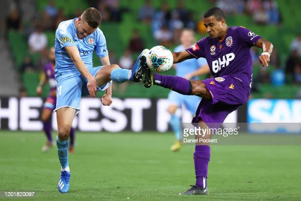 James Meredith of the Glory and Craig Noone of Melbourne City contest the ball during the round 16 ALeague match between Melbourne City and the Perth...