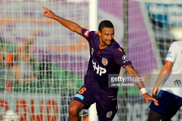 James Meredith of the Perth Glory Celebrates after scoring a goal during the round 11 ALeague match between the Perth Glory and Newcastle Jets at HBF...