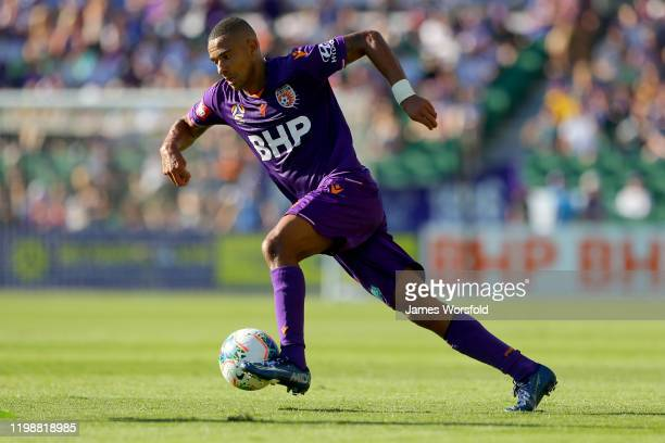 James Meredith of the Perth Glory makes his way across the pitch making his way towards goals during the round 14 A-League match between the Perth...