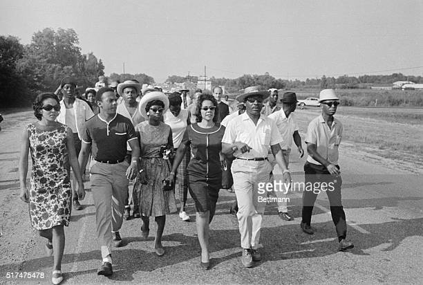 James Meredith who suffered wounds from a sniper 6/6 holds a walking conference with Dr Martin Luther King here 6/25 King joined the Freedom Marchers...