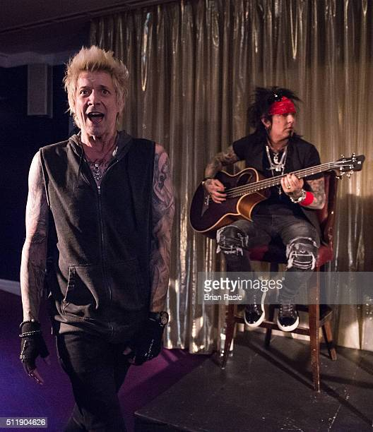 James Michael and Nikki Sixx of SixxAM perform at Sanctum Soho on February 23 2016 in London England