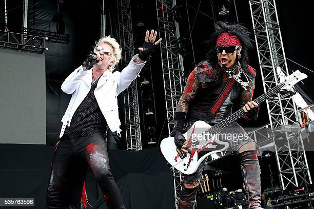 James Michael and Nikki Sixx perform in concert with SixxAM during the River City Rock Fest at the ATT Center on May 26 2016 in San Antonio Texas