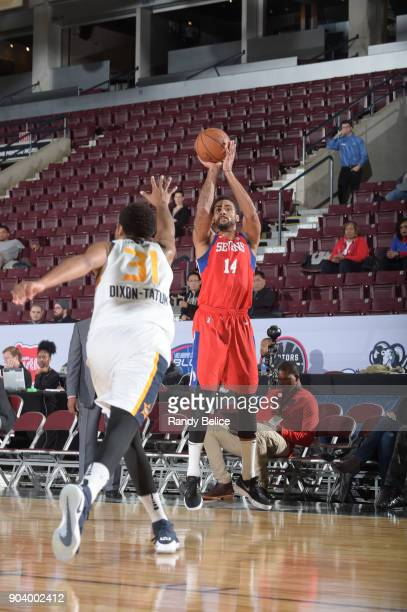 James Michael McAdoo of the Delaware 87ers shoots the ball during the game against the Salt Lake City Stars at the NBA G League Showcase Game 12 on...