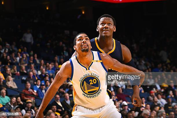 James Michael McAdoo of the Golden State Warriors boxes out against Lavoy Allen of the Indiana Pacers on December 5 2016 at ORACLE Arena in Oakland...