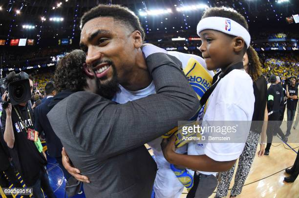 James Michael McAdoo of the Golden State Warriors celebrates after winning the 2017 NBA Finals on June 12 2017 at ORACLE Arena in Oakland California...