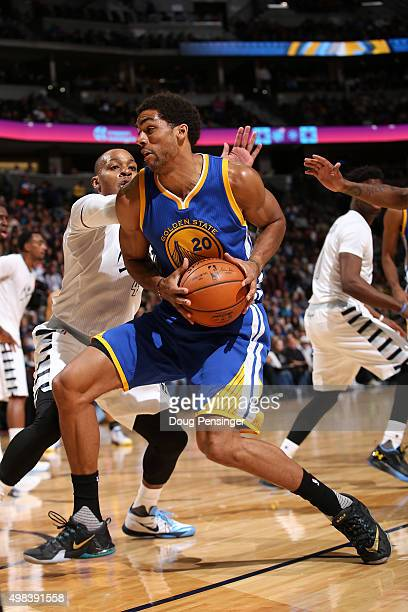 James Michael McAdoo of the Golden State Warriors controls the ball against the Denver Nuggets at Pepsi Center on November 22 2015 in Denver Colorado...