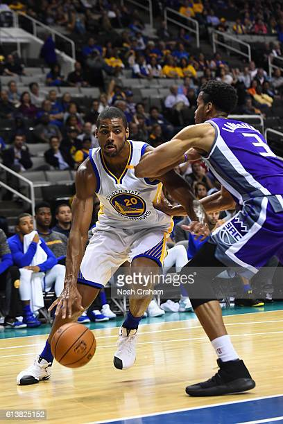 James Michael McAdoo of the Golden State Warriors drives to the basket during a preseason game against the Sacramento Kings on October 6 2016 at SAP...