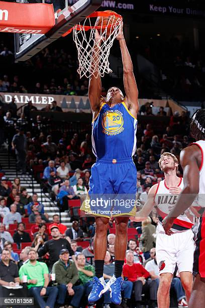 James Michael McAdoo of the Golden State Warriors dunks against the Portland Trail Blazers on November 1 2016 at the Moda Center in Portland Oregon...