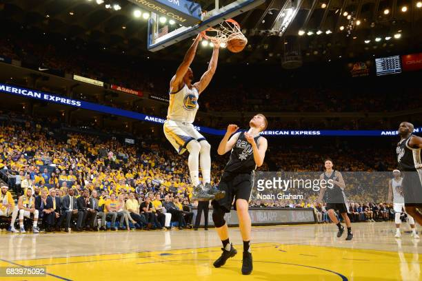 James Michael McAdoo of the Golden State Warriors dunks the ball during the game against the San Antonio Spurs during Game Two of the Western...