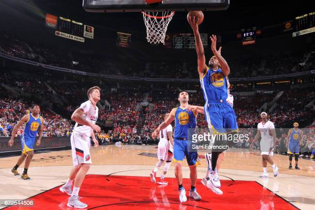 James Michael McAdoo of the Golden State Warriors goes to the basket against the Portland Trail Blazers during Game Four of the Western Conference...