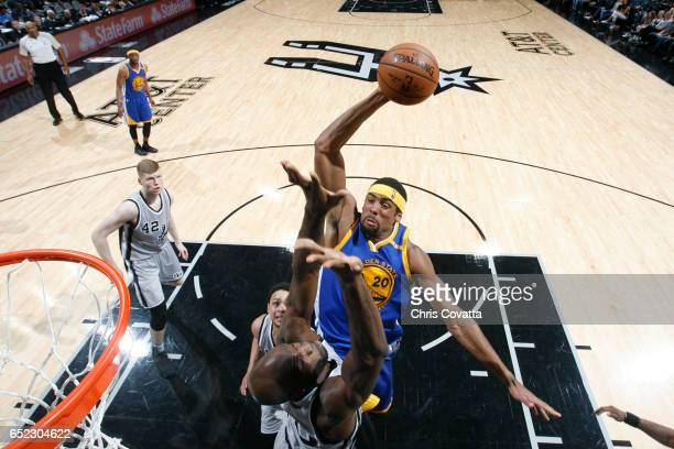 James Michael McAdoo of the Golden State Warriors goes up for a dunk against the San Antonio Spurs on March 11 2017 at the ATT Center in San Antonio...