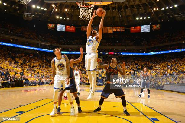 James Michael McAdoo of the Golden State Warriors grabs a rebound against the Cleveland Cavaliers in Game One of the 2017 NBA Finals on June 1 2017...