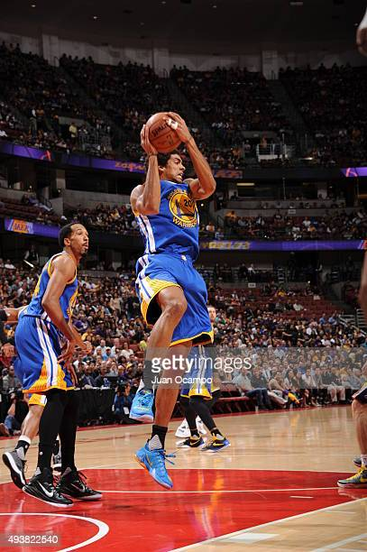 James Michael McAdoo of the Golden State Warriors grabs the rebound against the Los Angeles Lakers during a preseason game on October 22 2015 at...