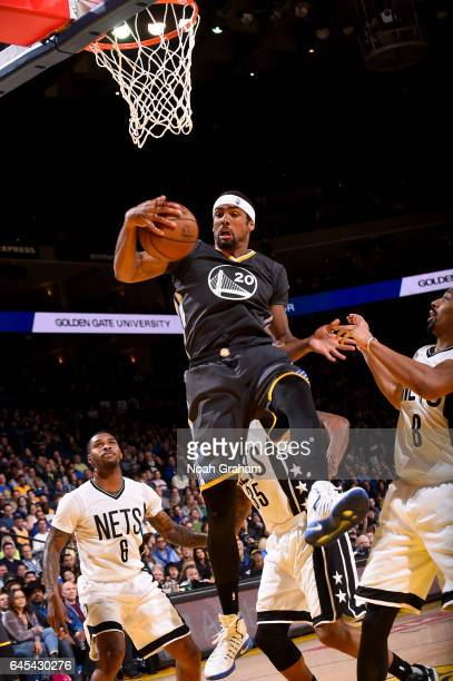 James Michael McAdoo of the Golden State Warriors grabs the rebound against the Brooklyn Nets on February 25 2017 at ORACLE Arena in Oakland...