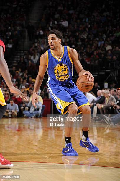 James Michael McAdoo of the Golden State Warriors handles the ball against the Houston Rockets on December 31 2015 at the Toyota Center in Houston...