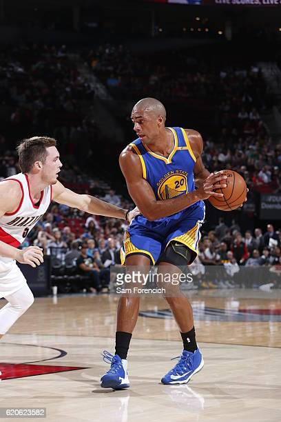 James Michael McAdoo of the Golden State Warriors handles the ball against the Portland Trail Blazers on November 1 2016 at the Moda Center Arena in...
