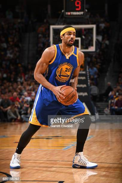 James Michael McAdoo of the Golden State Warriors handles the ball against the Denver Nuggets on February 13 2017 at the Pepsi Center in Denver...