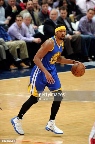 James Michael McAdoo of the Golden State Warriors handles the ball against the Washington Wizards at Verizon Center on February 28 2017 in Washington...