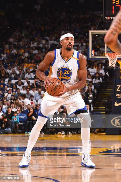 James Michael McAdoo of the Golden State Warriors handles the ball against the Los Angeles Lakers on April 12 2017 at ORACLE Arena in Oakland...