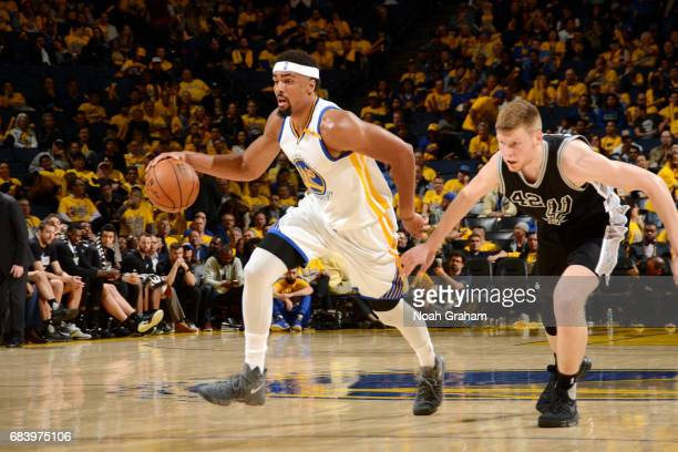 James Michael McAdoo of the Golden State Warriors handles the ball during the game against the San Antonio Spurs during Game Two of the Western...