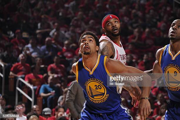 James Michael McAdoo of the Golden State Warriors looks on against the Houston Rockets in Game Three of the Western Conference Quarterfinals during...